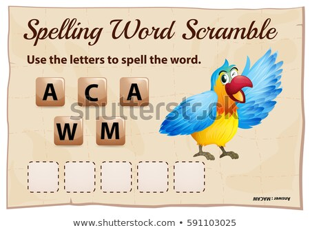 Spelling word scramble for word macaw Stock photo © colematt