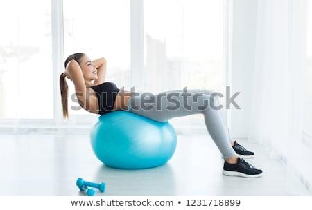 Kék pilates labda izolált fehér Stock fotó © boggy