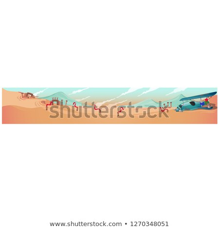 woestijn · landschap · illustratie · cartoon · cactus · natuur - stockfoto © lady-luck
