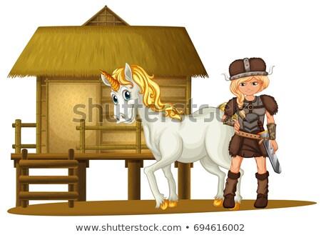 Női viking fából készült kunyhó illusztráció nő Stock fotó © colematt