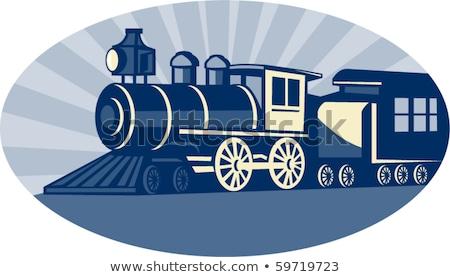 Vapor trem locomotiva retro estilo retro ilustração Foto stock © patrimonio
