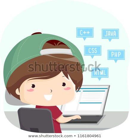 Fiú kódolás számítógép égbolt terv háttér Stock fotó © colematt