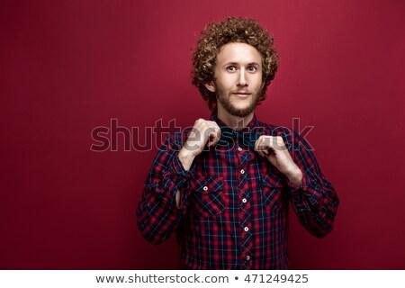 Retrato surpreendido moço cabelos cacheados isolado branco Foto stock © deandrobot