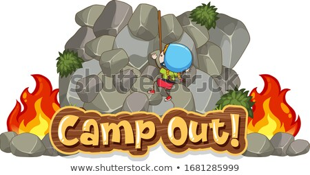 Camping scène woord rotsklimmen illustratie landschap Stockfoto © colematt
