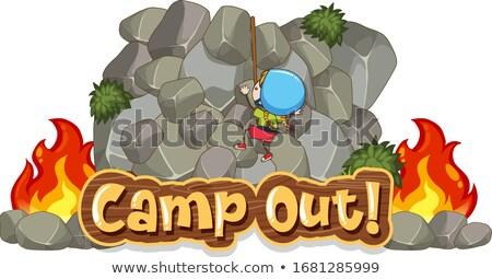 Camping scene with word rock climbing Stock photo © colematt