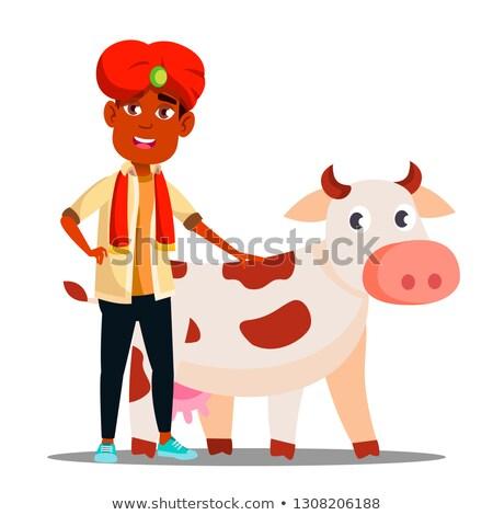 Indiano criança menino turbante vaca vetor Foto stock © pikepicture