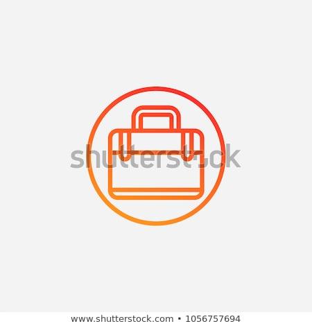 Aktatáska ikon fehér iroda felirat kék Stock fotó © smoki
