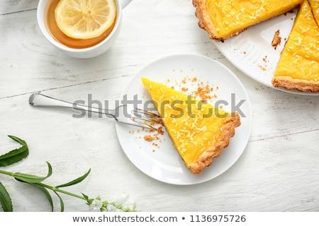 Dulce limón tarta frescos mesa de madera mesa Foto stock © boggy