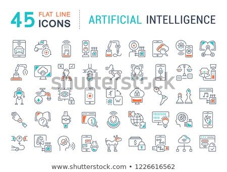 Robots concept - line design style icons set Stock photo © Decorwithme