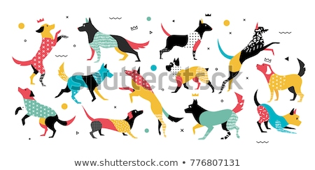 happy red dog cartoon animal character stock photo © izakowski