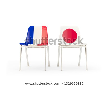 Two chairs with flags of France and japan Stock photo © MikhailMishchenko