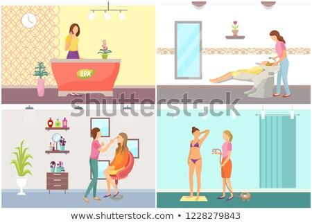mulheres · cara · estância · termal · conjunto · vetor · mulher - foto stock © robuart