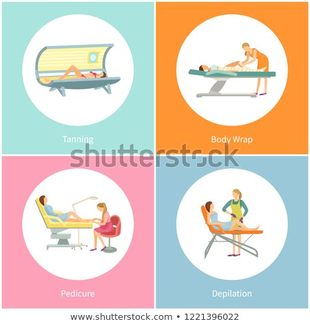 tanning and body wrap wrapping in salon set vector stock photo © robuart