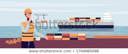 Crane and Truck with Containers, Workers Talking Stock photo © robuart