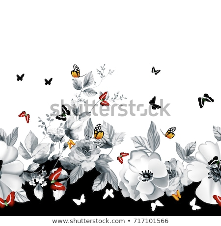 seamless floral border with colorful butterflies and peonies on white background stock photo © natalia_1947
