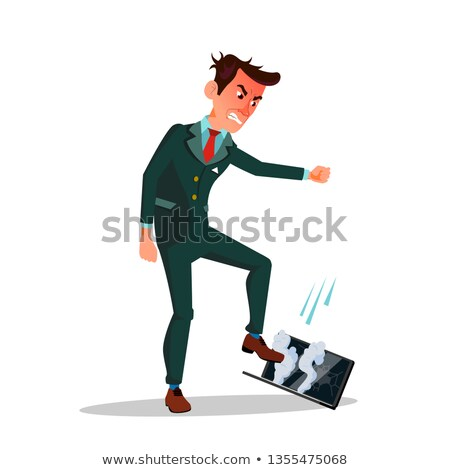 Angry Businessman Treading His Laptop Vector Flat Cartoon Illustration Stock photo © pikepicture