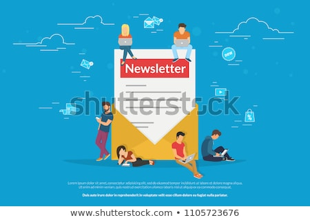 Newsletter subscribers concept illustration of young man and woman receiving commercial letters and  Stock photo © makyzz