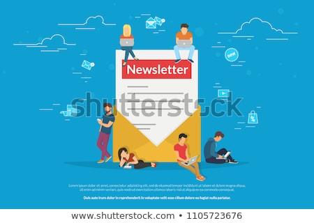 Bulletin illustration jeune homme femme commerciaux lettres Photo stock © makyzz