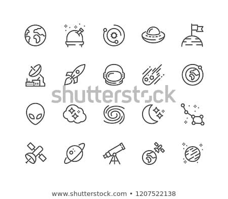 egyszerű · űr · ikonok · vektor · ikon · gyűjtemény · technológia - stock fotó © stoyanh