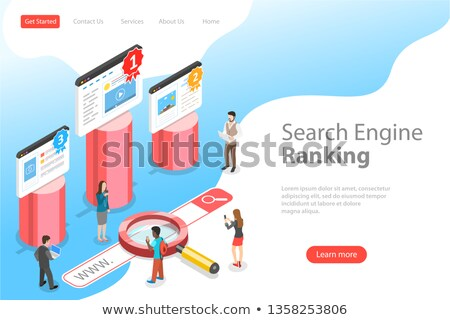 flat isometric vector landing pate template of seo ranking stock photo © tarikvision