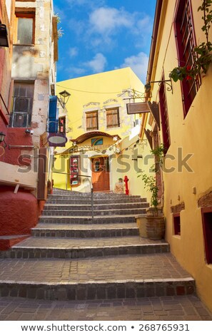 cosy street of Chania, Crete, Greece Stock fotó © neirfy