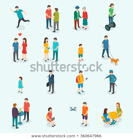 vector set of man and dog Foto stock © olllikeballoon