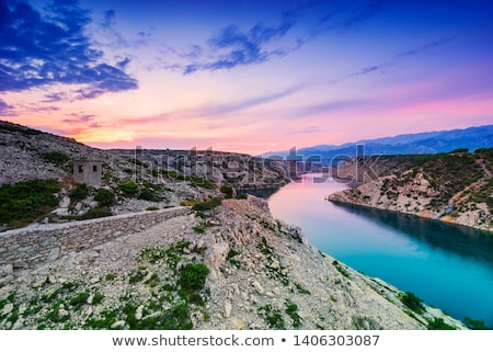 Colorful Sunset Over Maslenica Bridge in Dalmatia, Croatia Stock photo © rafalstachura