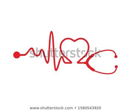 électrocardiogramme stéthoscope papier forme coeur Photo stock © pedrosala