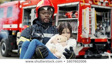 Tűzoltó segít lány illusztráció tűz munka Stock fotó © bluering