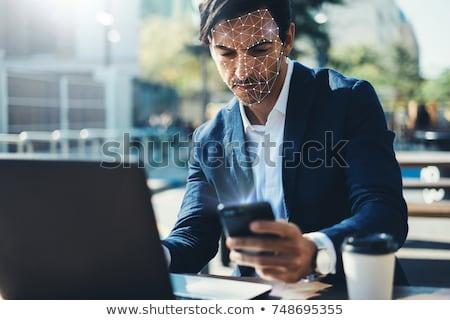 Joven cara reconocimiento hombre seguridad azul Foto stock © ra2studio