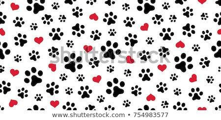 seamless background with heart and footprint paws stock photo © lemony