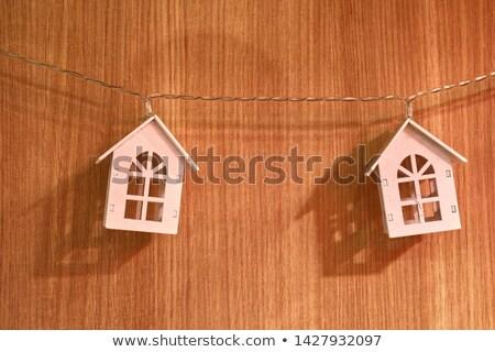 Modell házak akasztás miniatűr kék építészet Stock fotó © AndreyPopov