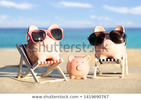 Piggybank Family With Sunglasses On Sand At Beach Stock photo © AndreyPopov