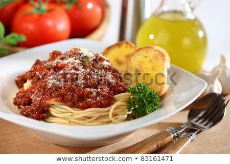 パスタ フライド 野菜 ガーリックブレッド パン チーズ ストックフォト © galitskaya