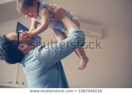 Manhã pai solteiro feliz animado jovem tatuagem Foto stock © pressmaster