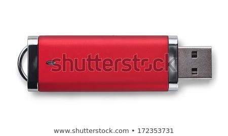 красный · usb · флэш-накопитель · белый · фон · ключевые - Сток-фото © magraphics