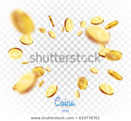 Realista monedas de oro explosión aislado blanco negocios Foto stock © olehsvetiukha