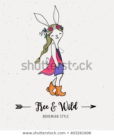 Bohemien Mode Mädchen bunny Kaninchen Stil Stock foto © marish