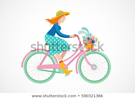 happy easter greeting card poster with cute sweet bunny sitting on the bicycle basket stock photo © marish