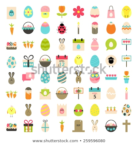 Stock fotó: Easter Icons Set Over White