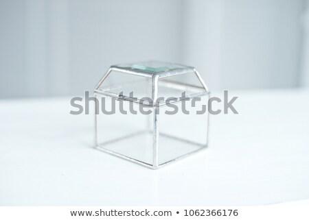Jegygyűrűk üveg doboz asztal felirat szeretet Stock fotó © ruslanshramko