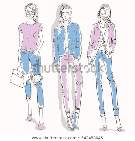 Set with color scetch of trendy girls Stock photo © netkov1