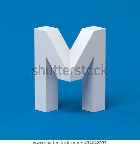 Blue extruded font Letter M 3D Stock photo © djmilic