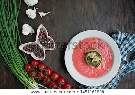spanyol · fa · asztal · tál · zöldségek · paradicsom · piros - stock fotó © karandaev