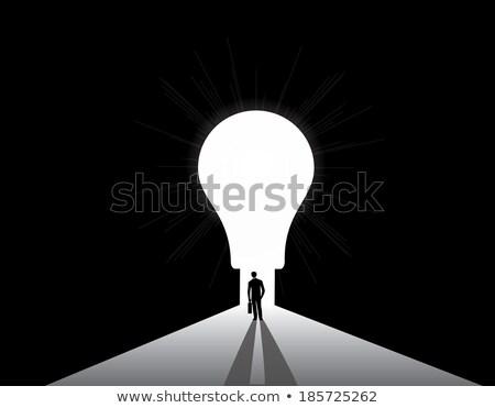 Legjobb ötlet üzletember villanykörte vektor üzlet Stock fotó © robuart