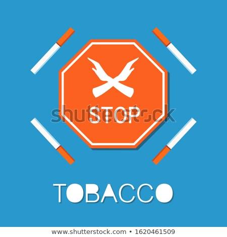 Stop piros felirat kettő kezek dohányzás Stock fotó © robuart