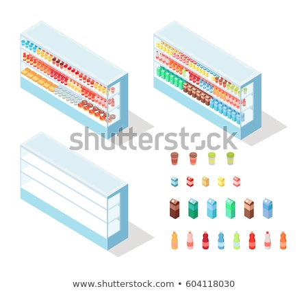 Milky Food in Groceries Showcase Isometric Vector Stock photo © robuart