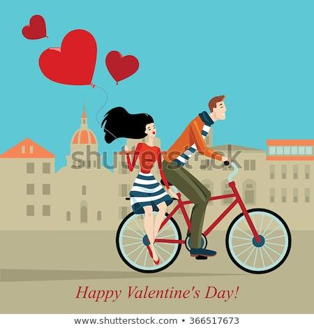 Aşıklar bisiklet kalma çift sevmek vektör Stok fotoğraf © robuart