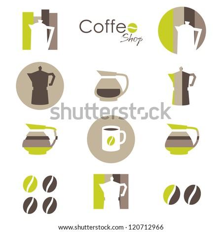 Kávésbögre kávébab ikon barna csíkos kávé Stock fotó © cidepix