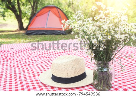 Hat and flower on the Red classic checkered tablecloth backgroun Stock photo © Freedomz